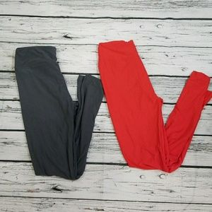 NWOT 2pairs LulaRoe leggings one size gray red